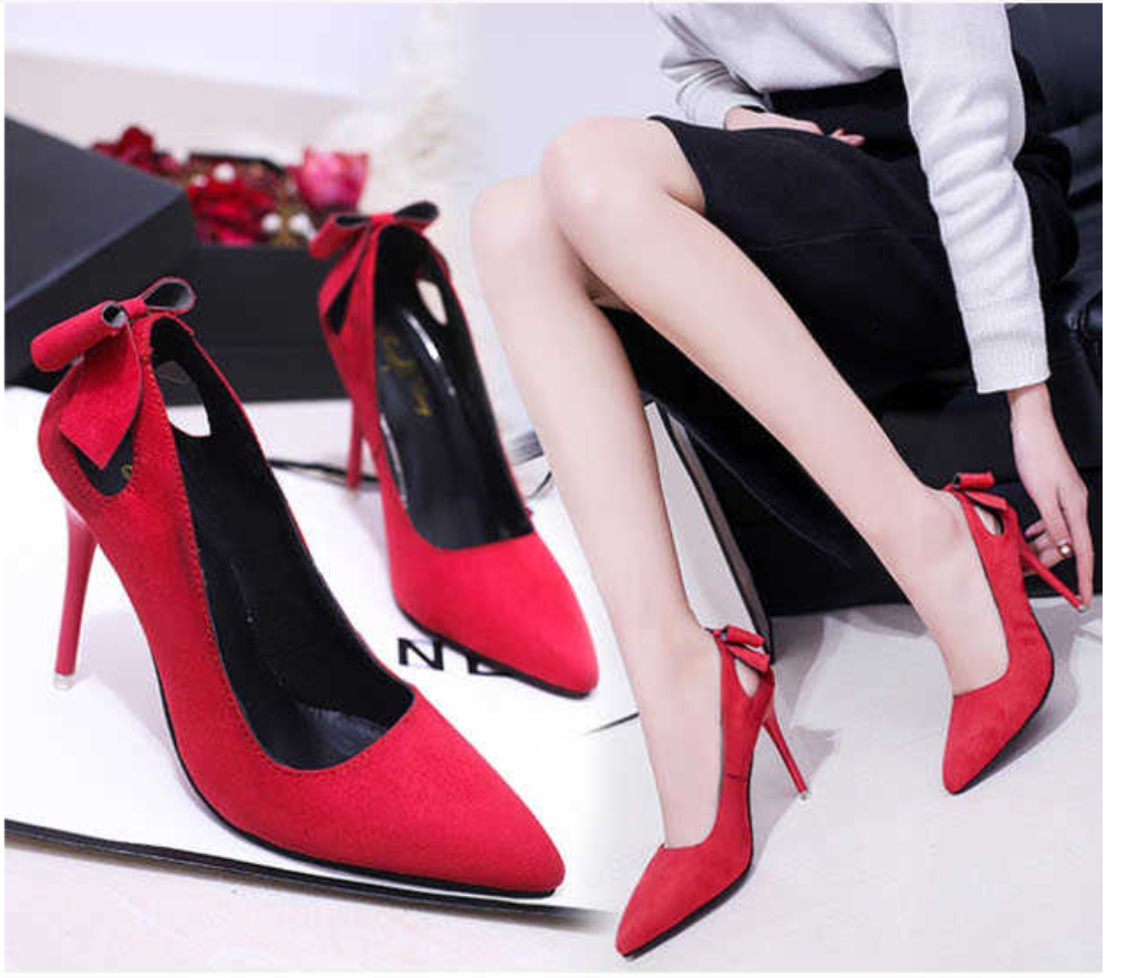 e108cdf0ab3 Red Pointed Toe Thin Heels Women Fashion Faux Suede Stiletto High Heels  Pumps Shoes